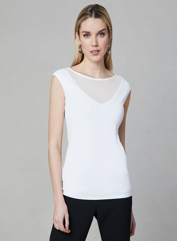 Sleeveless Illusion Neck Top, Off White, hi-res