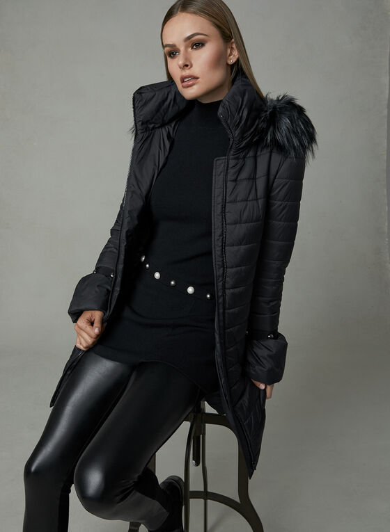 Manteau en duvet synthétique à manches froncées , Noir, hi-res