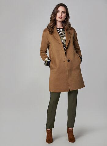 Bernardo - Manteau effet laine, Brun, hi-res,  manches longues, col cranté, poches, automne hiver 2019