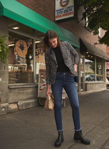 Veste en tweed à détails effilochés, Noir,  haut, veste, col tailleur, manches longues, coupe cintrée, détails effilochés, tweed, automne hiver 2021