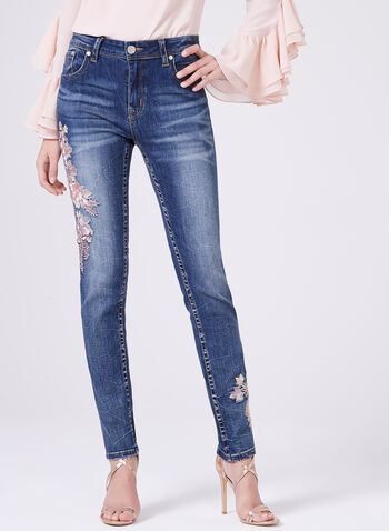 Grace in LA - Floral Embroidered Straight Leg Jeans, Blue, hi-res