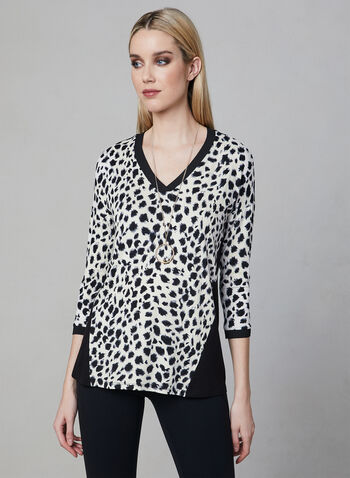 ¾ Sleeve Animal Print Top, White, hi-res
