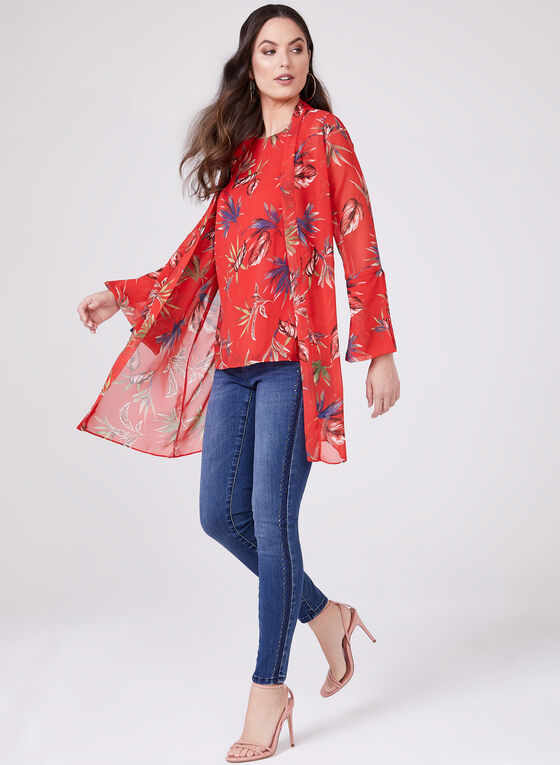 Floral Print Open Front Blouse , Red, hi-res