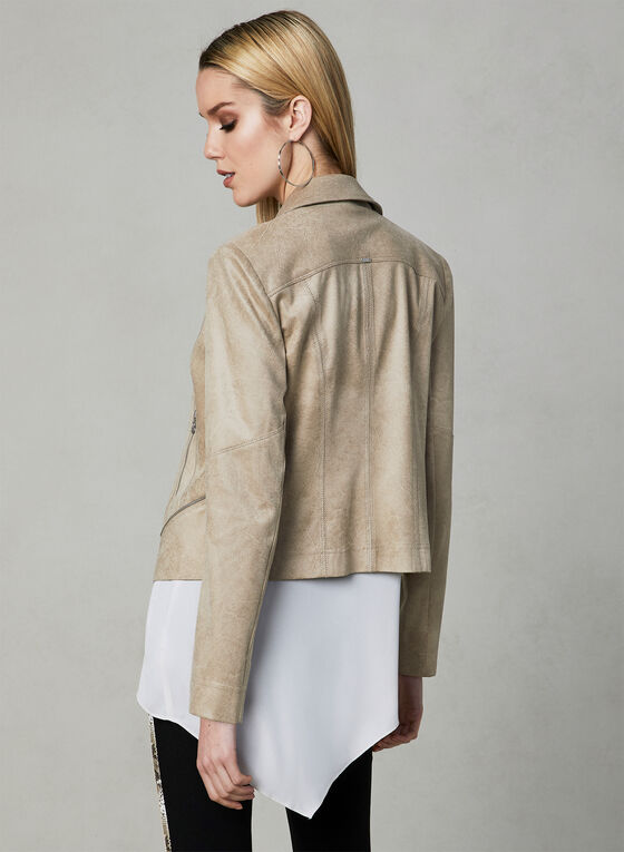 Vex - Faux Suede Jacket, Off White