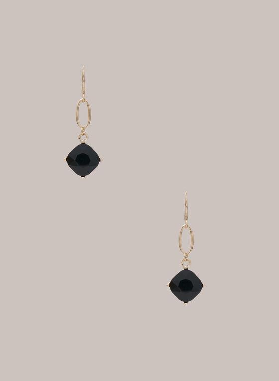 Boucles d'oreilles à pierres facettées, Noir