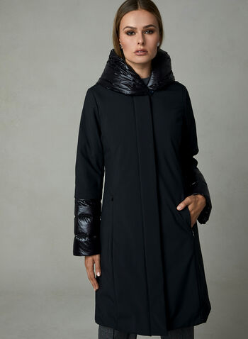 Manteau à empiècements satinés et capuchon, Noir, hi-res