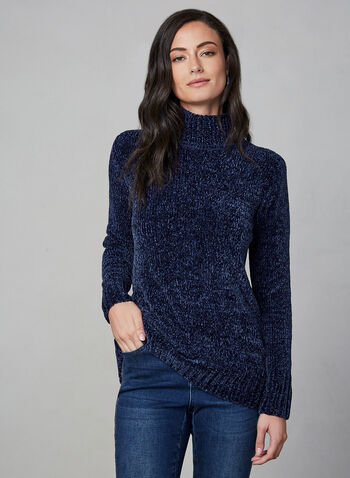 Chenille Turtleneck Sweater, Blue, hi-res,  knit sweater, long-sleeve sweater