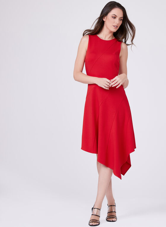 Adelyn Rae - Sleeveless Asymmetric Zip Front Dress , Red