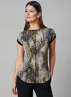 Snake Print Top, Black, hi-res