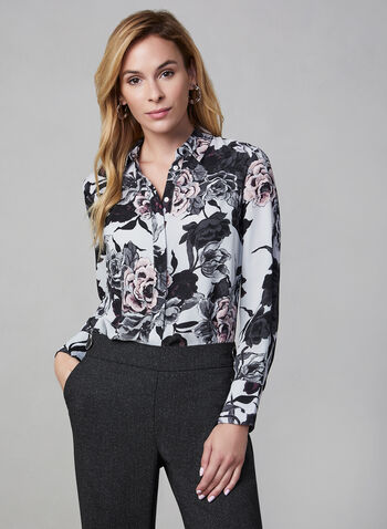 Floral Print Blouse, Purple,  long sleeves, chiffon, fall 2019, winter 2019, button down,