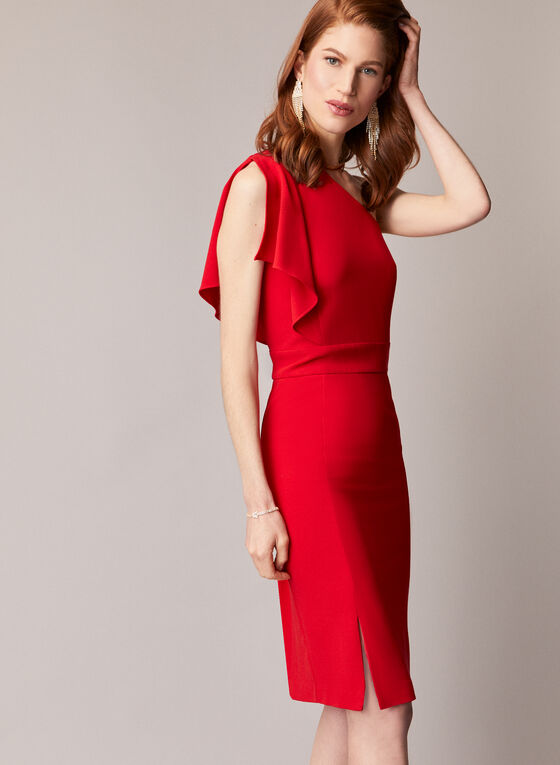 Asymmetric Crepe Cocktail Dress, Red
