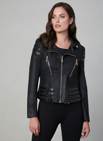 Frank Lyman - Faux Leather Motto Jacket, Black, hi-res,  fall winter 2019, faux leather, zippers, frank lyman