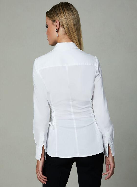 Chemisier à manches longues et détails lacets, Blanc, hi-res