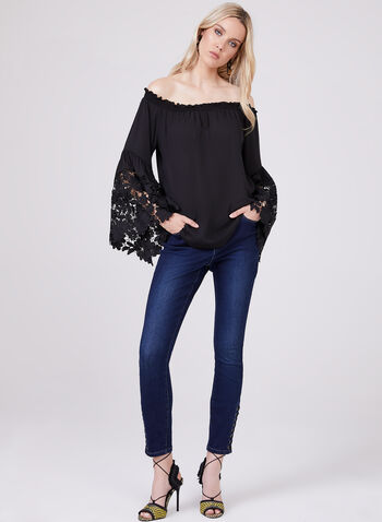 Joseph Ribkoff - Bell Sleeve Off The Shoulder Blouse, Black, hi-res