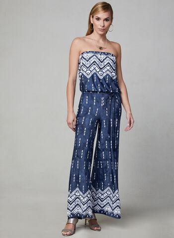 Combinaison motif aztèque à jambe large, Bleu, hi-res,  printemps 2019, sans manches, épaules dénudées, jambe large, jersey