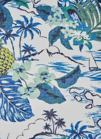 Tropical Print Scarf, Blue,  leaf, pineapple, bird, spring 2019