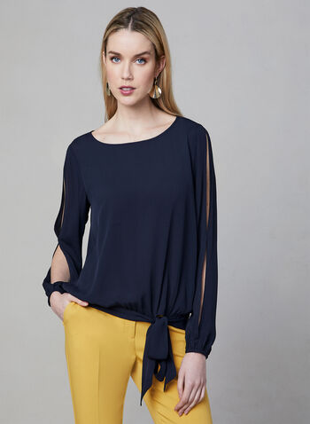 Tie Detail Blouse, Blue, hi-res