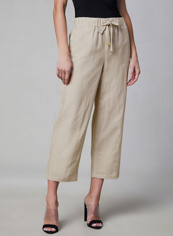 Pull-On Linen Culottes, Grey, hi-res
