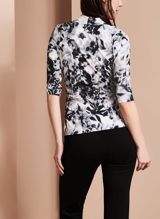 Faux Wrap Floral Print Top, Black, hi-res