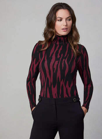 Zebra Print Top, Red, hi-res,  Canada, mesh, top, long sleeves, zebra print, turtleneck, fall 2019, winter 2019