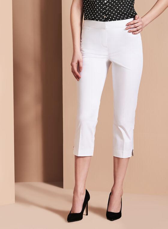 Capri satiné détails zips, Blanc, hi-res