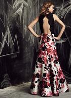 Ignite Evenings - Robe sirène dos nu à fleurs et dentelle, Noir, hi-res