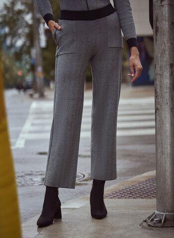 Pantalon à enfiler en tricot à motif chevrons, Noir,  automne hiver 2021, pantalon, tricot, pull en tricot, style décontracté, vêtement en tricot, à enfiler, modèle pull-on, taille élastique, jambe large, poches, contraste, chevron, bande, rayure, relax, vêtement de détente, week-end