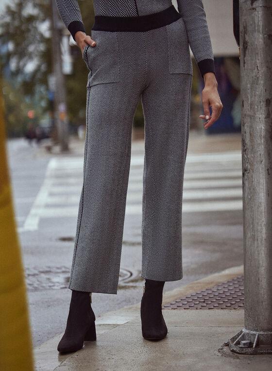 Herringbone Knit Pull-On Pants, Black