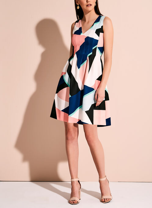 Vince Camuto Geometric Print Fit & Flare Dress, Multi, hi-res