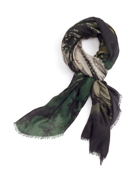 Foulard oblong à motif abstrait, Vert, hi-res