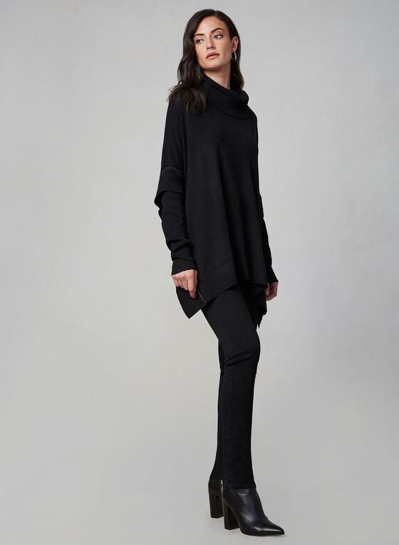 Poncho en tricot à manches longues, Noir, hi-res