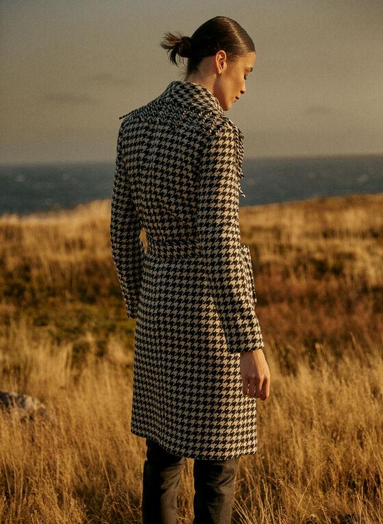 Manteau frangé à motif pied-de-poule, Noir
