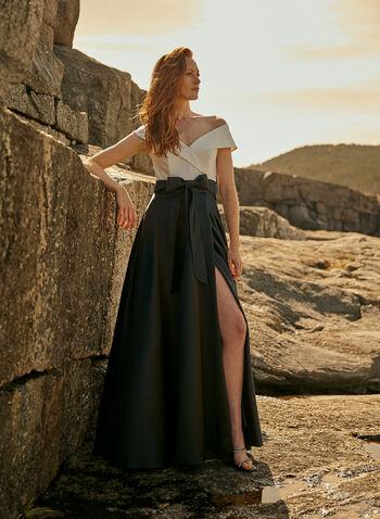 BA Nites - Bow Detail Ballgown, Black,  evening dress, satin, bow, crepe, off the shoulder, fold-over, spring summer 2020