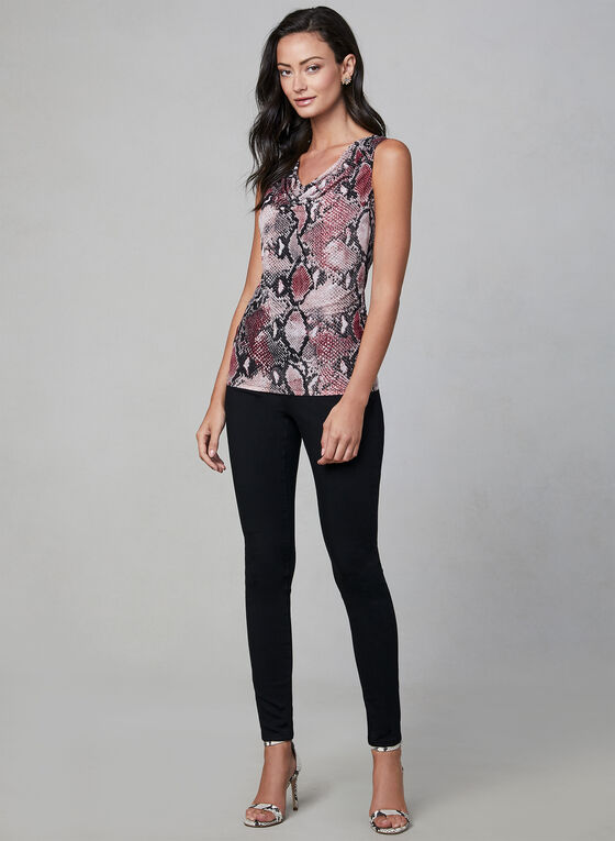 Snake Print Sleeveless Top, Black, hi-res