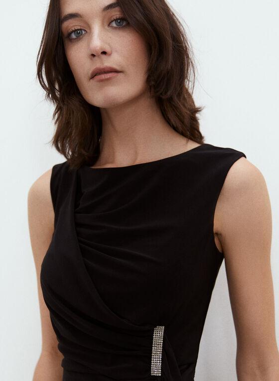 Brooch Detail Draped Dress, Black