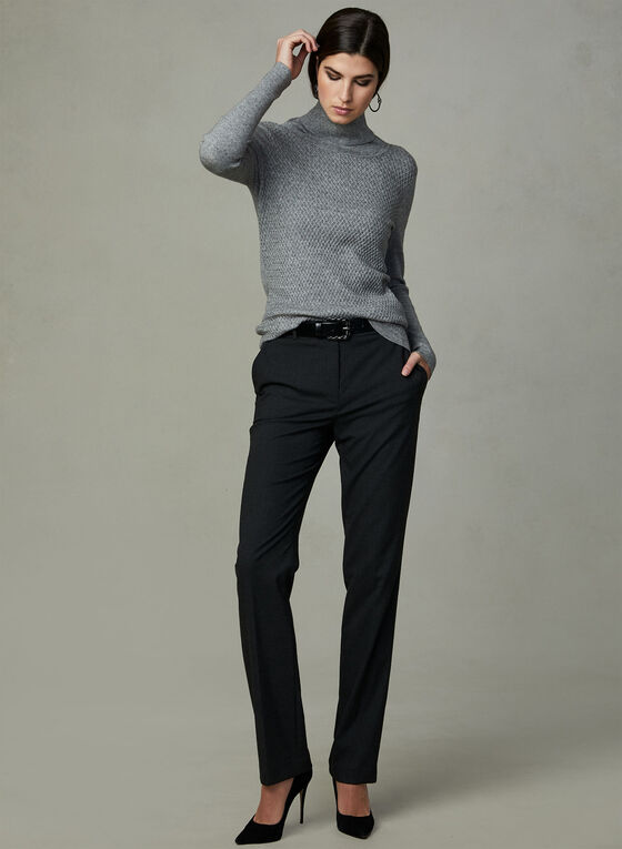 Cowl Knit Sweater, Grey