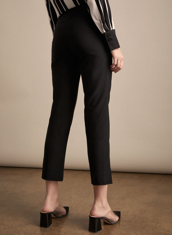 Zipper Detail Capri Pants, Black