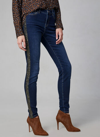Rhinestone Slim Leg Jeans, Blue, hi-res,  jeans, denim, pants, rhinestones, embellishments, metallic, slim leg, fall 2019, winter 2019