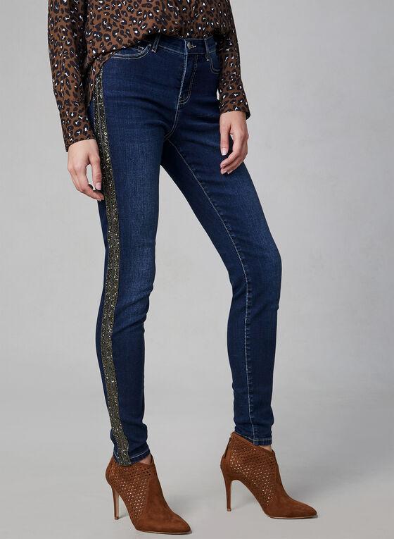 Jeans à jambe étroite et bandes brillantes, Bleu