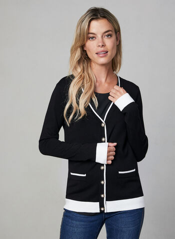 Colour Block Cardigan, Black, hi-res,  cardigan, button down, pearl buttons, long sleeves, colour block, V-neck, fall 2019, winter 2019