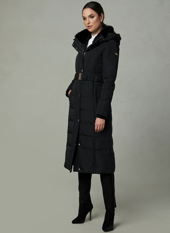 Novelti - Long Quilted Down Coat, Black, hi-res