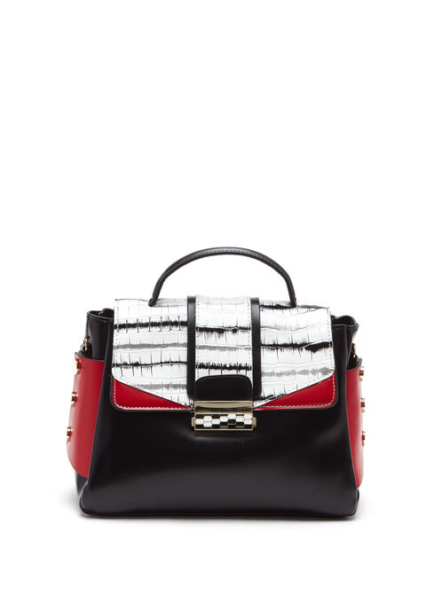 Faux Crocodile Colour Block Satchel, Black, hi-res