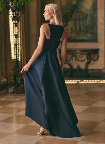 Adrianna Papell - Satin High Low Dress, Blue,  dress, evening, high low, satin, scoop neck, sleeveless, wavy, spring summer 2020