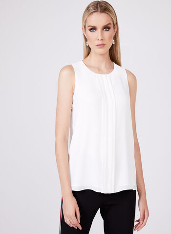 Sleeveless Chiffon Blouse, Off White, hi-res