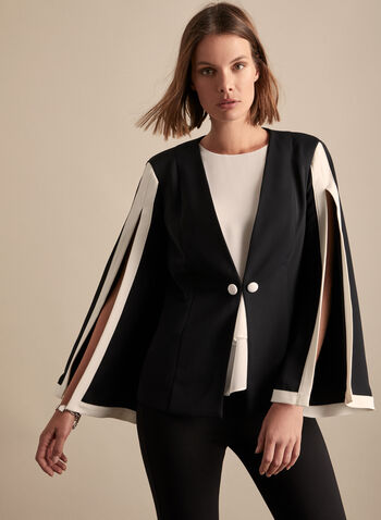 Frank Lyman - Slit Sleeve Contrast Jacket, Black,  jacket, contrast, flared sleeves, slit, shoulder pads, spring summer 2020