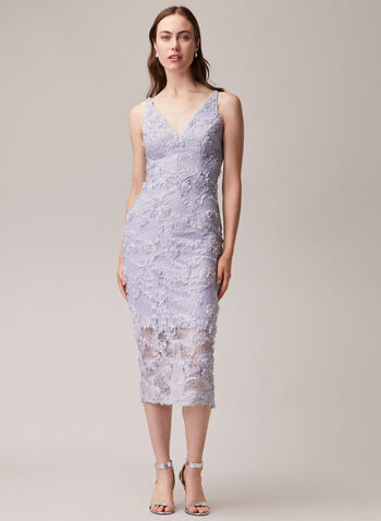 BA Nites - V-Neck Lace Dress, Blue,  evening dress, occasion, lace, floral appliqué, midi, spring summer 2020