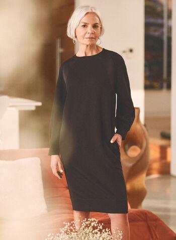 Satin Detail Day Dress, Black,  dress, round neck, long sleeves, balloon sleeves, zipper, satin, knit, loungewear, spring summer 2021