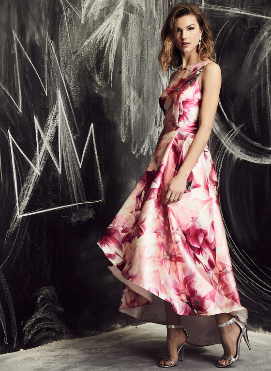 Ignite Evenings - Floral Print High Low Dress, Pink