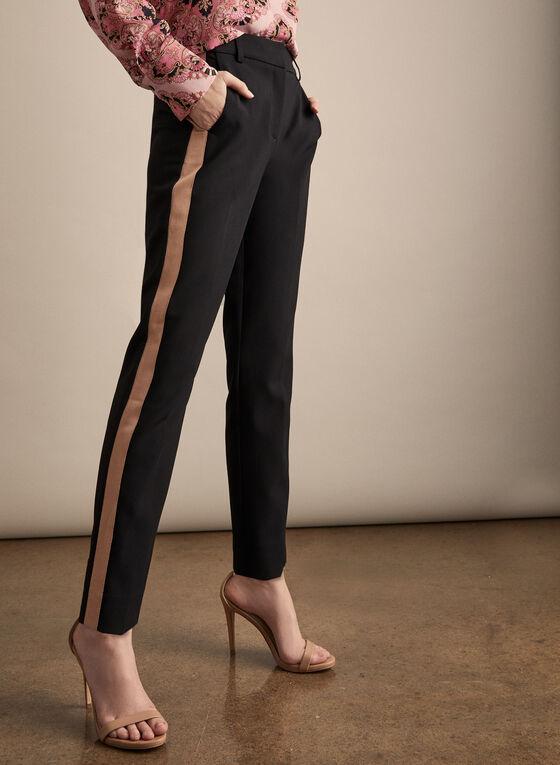 Pantalon Giselle à bande satinée, Noir