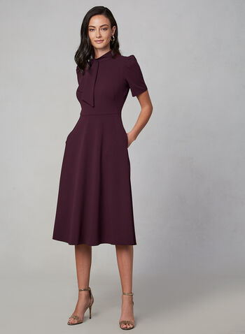 Maggy London - Short Sleeve Midi Day Dress, Purple,  dress, midi dress, day dress, short sleeves, bow, stretch, flowy, a-line, fall 2019, winter 2019